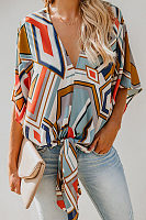V Neck Geometrical Printed Lace Up Fashion Blouses