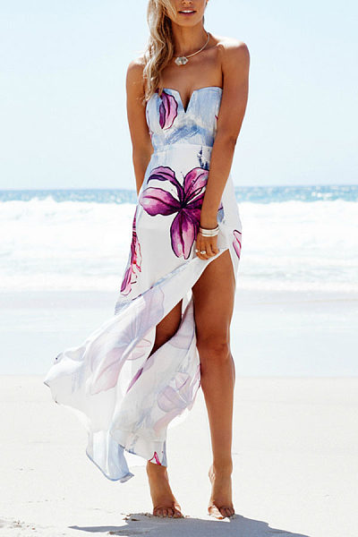 V Neck High Slit Printed Maxi Dresses