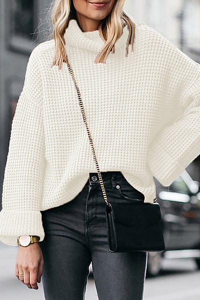 Casual Loose High Neck Knit Sweater