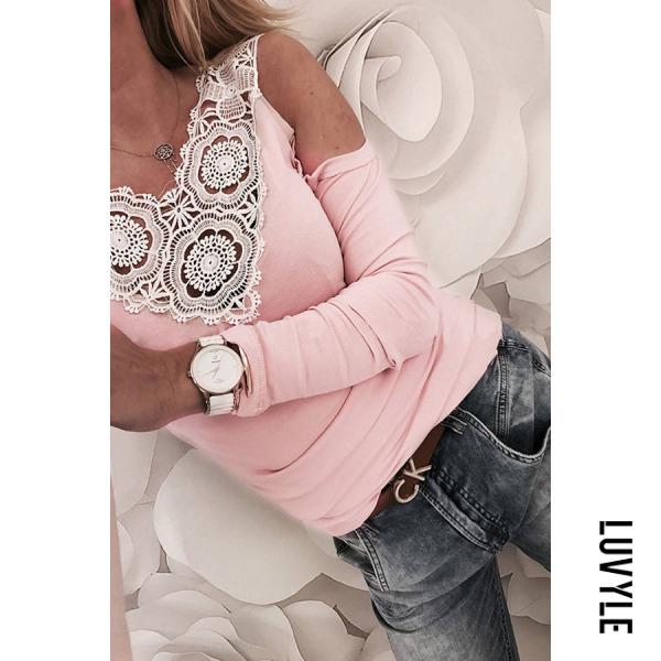 Pink Open Shoulder V Neck Backless Back Hole Plain T-Shirts Pink Open Shoulder V Neck Backless Back Hole Plain T-Shirts