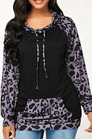 Hooded  Drawstring  Leopard Printed Hoodies