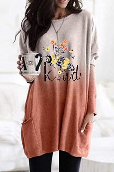 Bee Print Gradient Long Sleeve Casual Pocket T-shirt