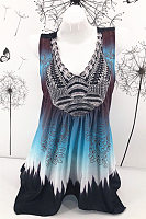 V Neck Sleeveless Printed Vest