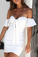Strapless  Bowknot  Plain  Bell Sleeve  Short Sleeve Bodycon Dresses