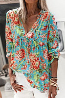 Floral V Neck Long Sleeve Blouse