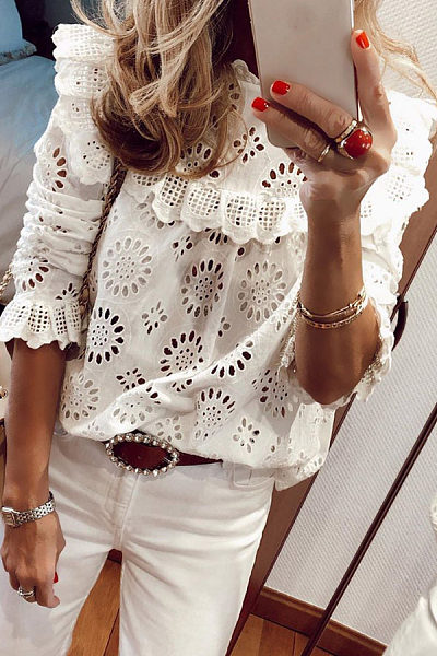 Round Neck Hollow Out Lace Blouse