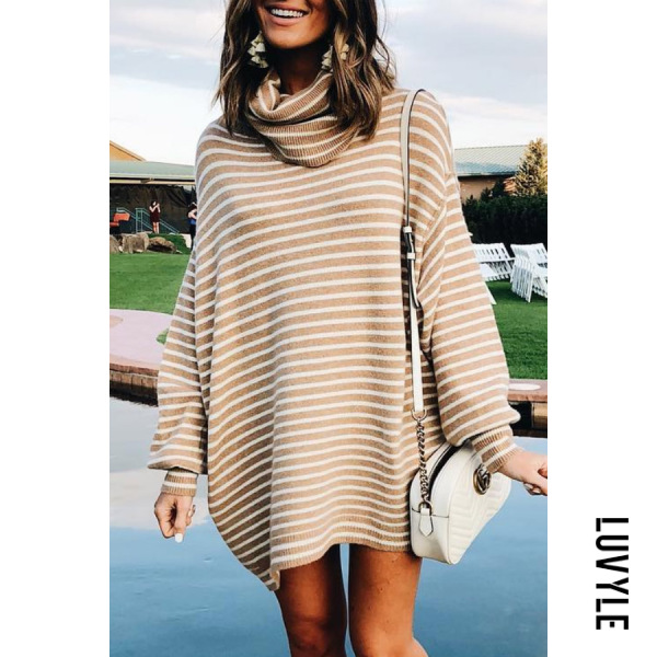 Heap Collar Lantern Sleeve Striped Sweater - from $30.00