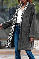Fold Over Collar  Loose Fitting  Leopard Printed Outerwear