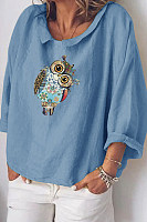 Round Neck Animal Print Three-quarter Sleeve T-shirt