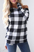 Single Shoulder Collar Plaid T-Shirt