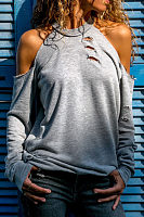 Open Shoulder  Broken Holes  Plain T-Shirts