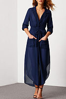Fold Over Collar  Asymmetric Hem  Belt  Plain Maxi Dresses