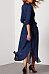 Fold Over Collar  Asymmetric Hem  Belt  Plain Maxi Dresses