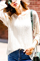 Round Neck  Cutout  Plain Sweaters
