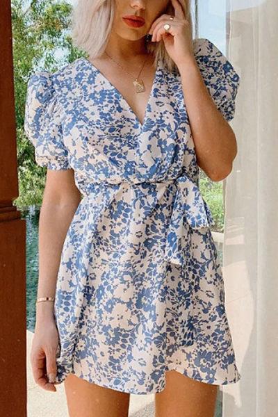 Deep V Neck  Printed  Short Sleeve Casual Dresses
