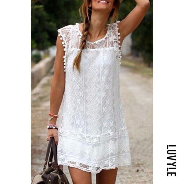White Round Neck Tassel Lace Plain Casual Dresses White Round Neck Tassel Lace Plain Casual Dresses