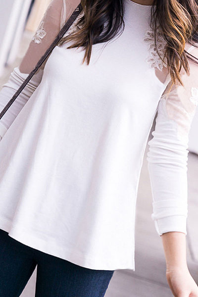 Fashion Mesh Patchwork Long Sleeve Casual Blouses