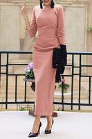 Round Neck  Backless  Plain  Long Sleeve Maxi Dresses
