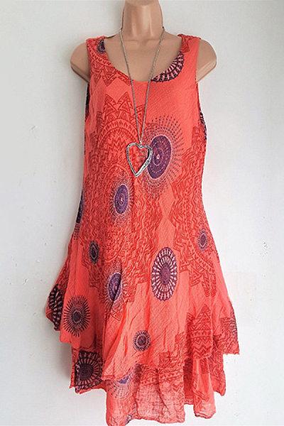 Round Neck Collarless Printed Casual Dress