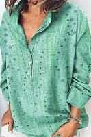 Cotton and linen print loose long sleeve shirt