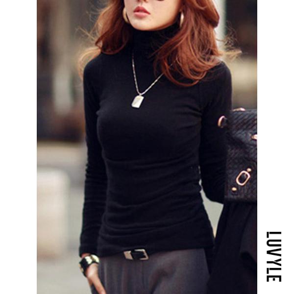 Black Basic Turtleneck Plain Long Sleeve T-Shirt Black Basic Turtleneck Plain Long Sleeve T-Shirt