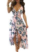 Spaghetti Strap  Asymmetric Hem  Floral Printed Maxi Dresses
