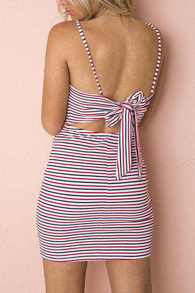 Spaghetti Strap  Belt  Striped  Sleeveless Bodycon Dresses