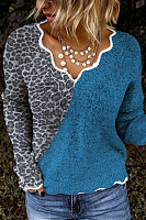 Casual Heart-collar Stitching Color Knit Sweater