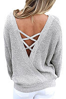 Round Neck  Backless Cross Straps  Plain Sweaters