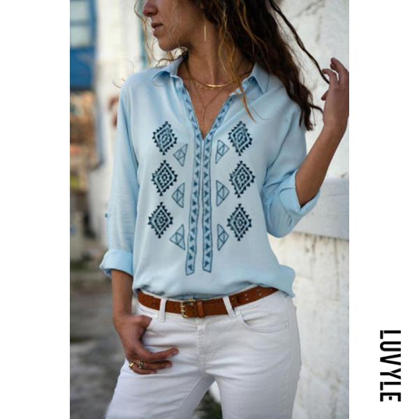 Casual printed V-neck long sleeve shirt