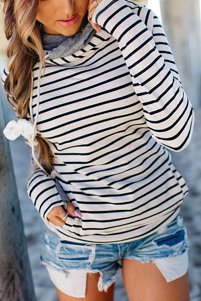 Hooded Striped Long Sleeve Sweatshirt