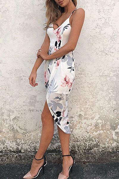 Spaghetti Strap  Asymmetric Hem  Floral Printed Bodycon Dresses