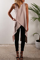 Round Neck  Asymmetric Hem  Plain  Vests