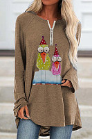 Fashion Cartoon Printed Long Sleeve Metal Zipper Round Neck T-shirt