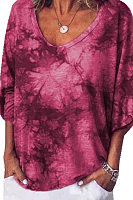 Casual Loose V-Neck Tie Dyed Large Size Long-Sleeved T-Shirt