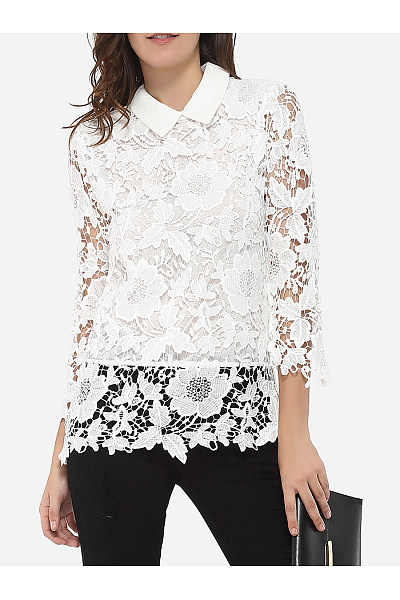 Doll Collar Dacron Hollow Out Lace Plain Long-Sleeve-T-Shirt