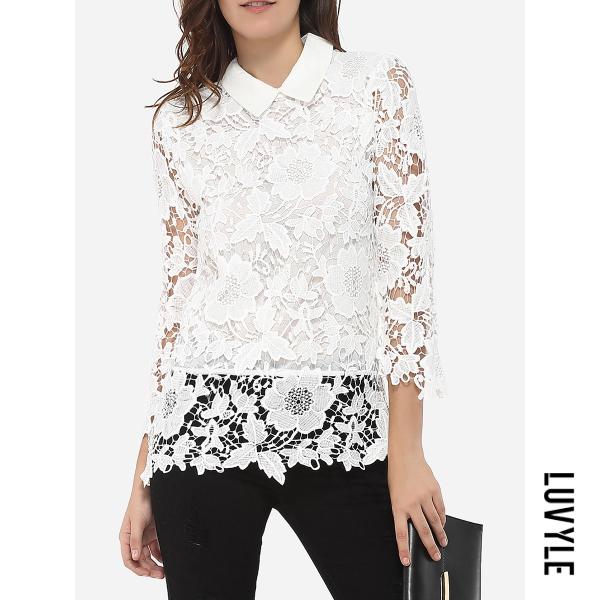 White Doll Collar Dacron Hollow Out Lace Plain Long-Sleeve-T-Shirt White Doll Collar Dacron Hollow Out Lace Plain Long-Sleeve-T-Shirt