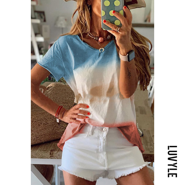 Blue Athleisure Round Neck Short Sleeve Gradient Loose Top T Shirt Blue Athleisure Round Neck Short Sleeve Gradient Loose Top T Shirt