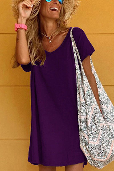 V Neck Short Sleeve Solid Casual Dress