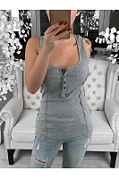 Casual Sexy Button Sleeveless T-Shirt