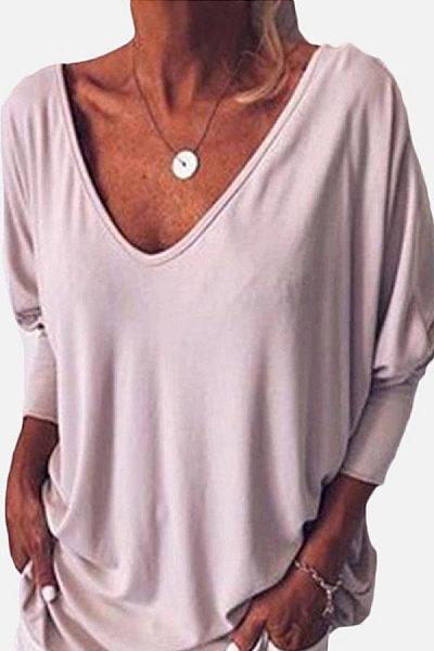 V Neck Batwing Sleeve T-Shirts