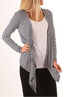 Asymmetric Hem  Striped  Casual  Cardigans