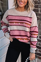 Round Neck Colouring Striped Sweater