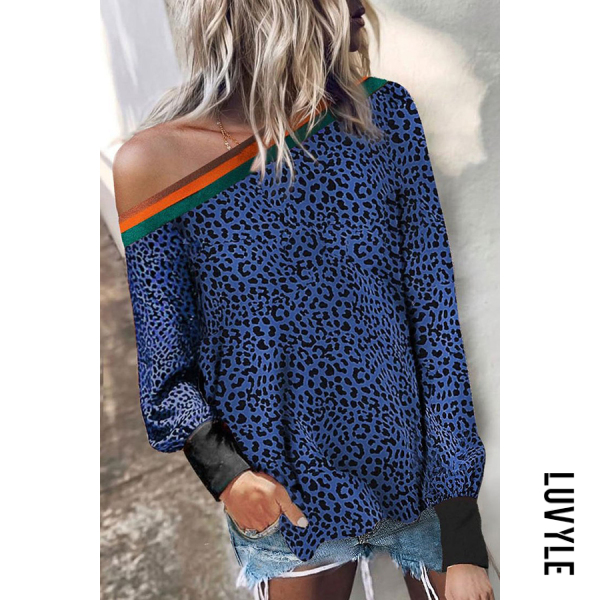 Single Shoulder Collar Leopard T-shirt - from $20.00