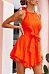Halter  Backless  Plain  Sleeveless Casual Dresses