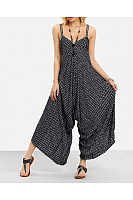 Striped Halter Casual Jumpsuit Wide-Leg Pants