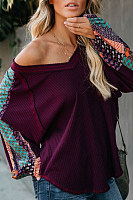 One Shoulder  Abstract Print Sweaters