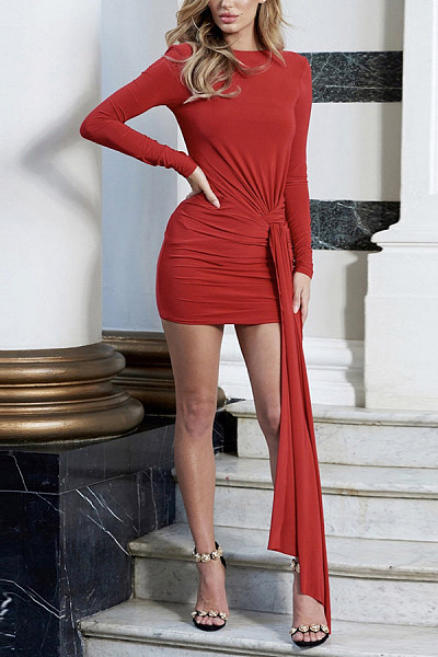 Fashion Round Collar   Sexy Backless Mini Bodycon Dress