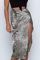 Slit   Leopard  Printed  Skirts