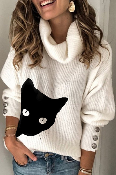 Heap Collar Plain Cat Sweater